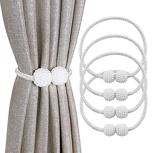 JOKILY Vorhang Raffhalter Magnetisch (4 Stück), Vorhang Seil Schnallen, Vorhang Halter Schnallen Vorhang Binder zur Dekoration von Wohnzimmer, Büro und Schlafzimmer (Grau)
