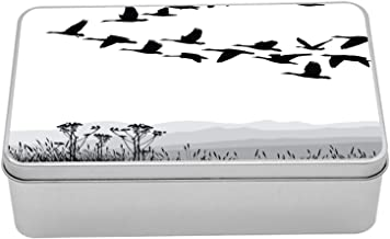 Ambesonne Mountains Tin Box, Monochrome Silhouette of Flying Geese in Greyscale Landscape Background, Portable Rectangle Metal Organizer Storage Box with Lid, 7.2