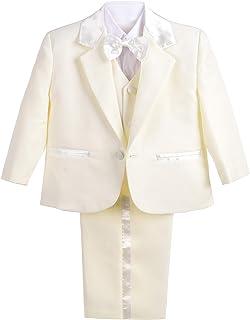 Dressy Daisy Baby Boy' Formal Tuxedo Suits Wedding Baptism Christening Outfits 5 Pcs Set