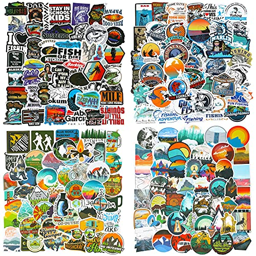 200 Pieces Outdoor Adventure Stickers Vinyl Waterproof Wilderness Nature Stickers Hiking Camping Travel Decals for Water Bottles, Phone, Computer, Luggage, Guitar, Adults Teens