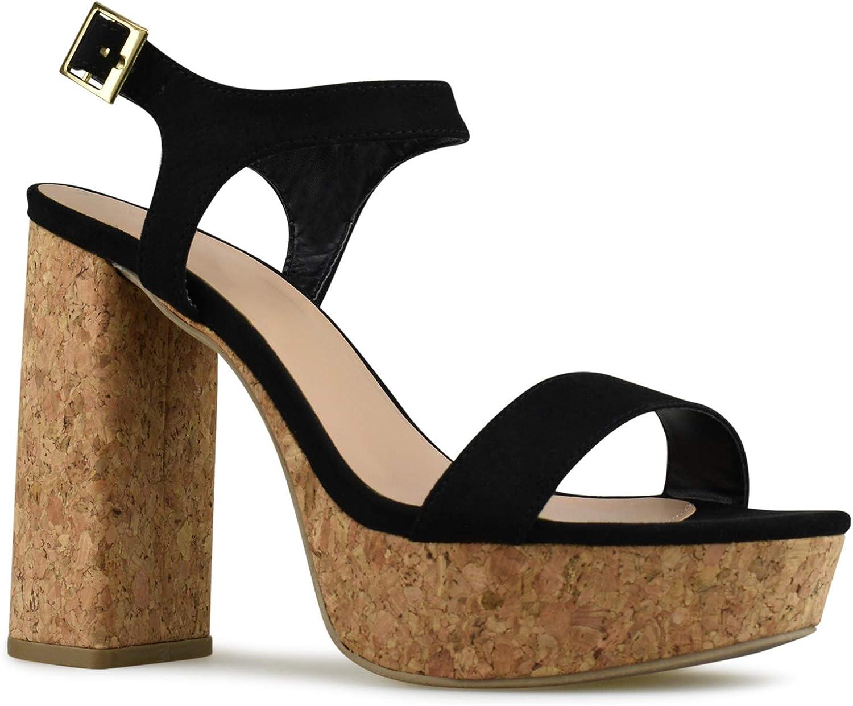 Premier Standard - Woherrar Ankle Strap hög klack - - - Open Toe Sandal Pump - Chunky Cork Heel Platform skor  bästa mode
