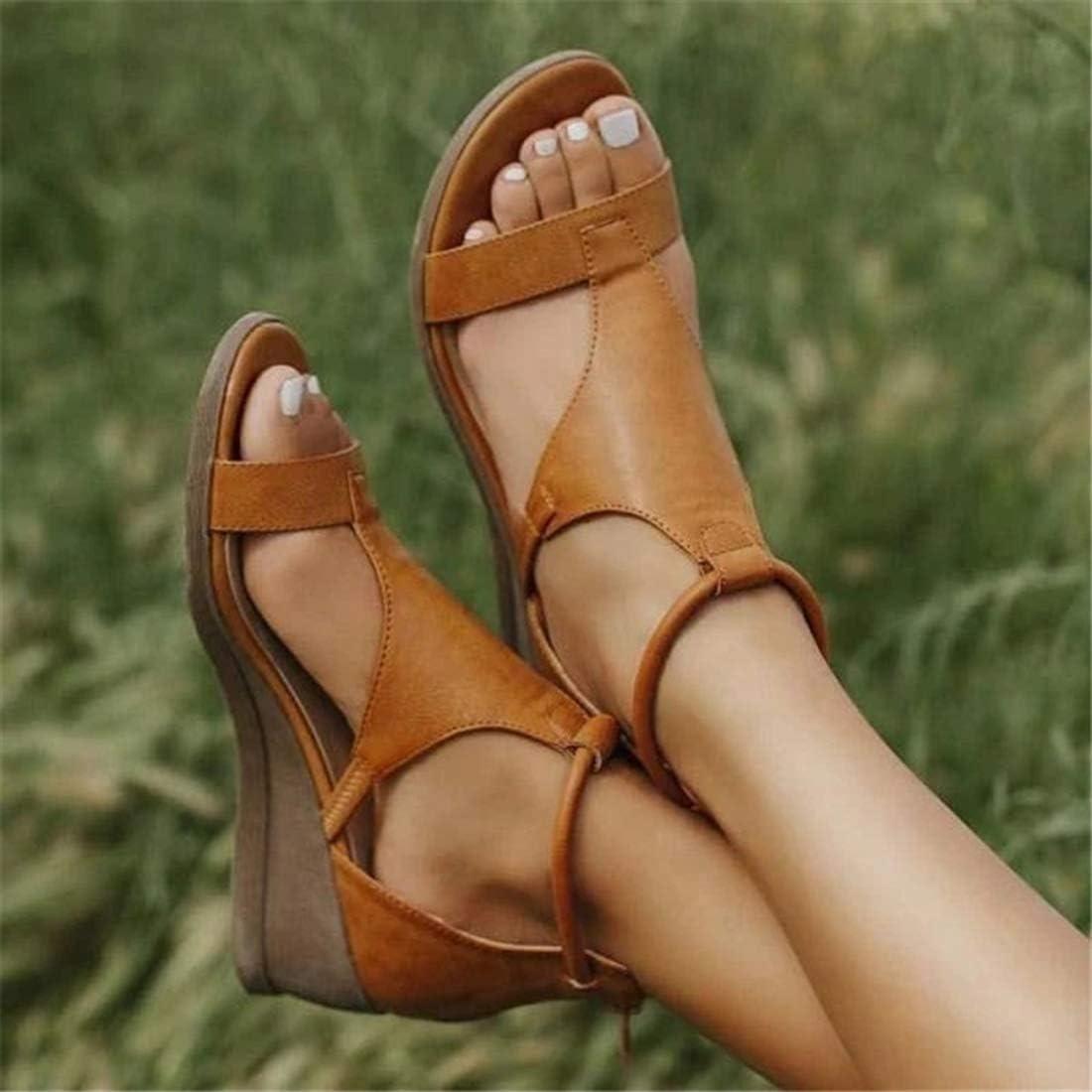 Heflashor Womens Summer Platform Sandals with Zipper Ladies Wedge Sandals Peep Toe Comfy Beach Shoes Brown