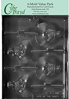 "Cybrtrayd Life of the Party A159-6BUNDLE Ground Hog Lolly Chocolate Candy Mold, 6-Pack in Sealed Protective Poly Bag Imprinted w/Instructions, 3"" x 2-3/4"" x 5/8"" deep, Clear"