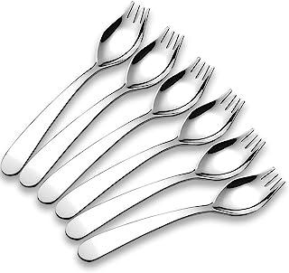 6-Pack Mini 18/10 Stainless Steel Sporks, Fruit Appetizer Dessert Salad Flatware Set, 5.9-Inch Long(S)