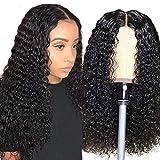 Parrucca donna capelli veri ricci lunghi lace front wigs human hair wigs capelli verial 100% umani brasiliani vergini neri (26inch/ 66cm, Colore naturale)