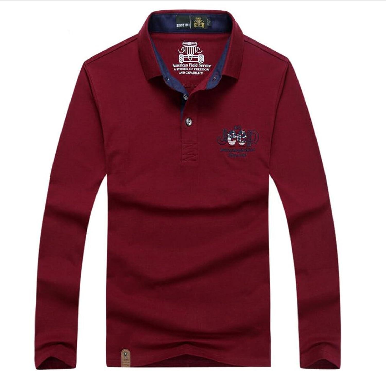 e6b50245b510 Long-Sleeved T Shirts Men's Solid colord Lapel Fashion Casual Slim Shirt  Comfortable Plus Size