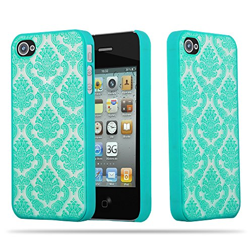 Cadorabo Apple iPhone 4 / iPhone 4S Hardcase Hülle in GRÜN Blumen Paisley Henna Design Schutzhülle – Handyhülle Bumper Back Hülle Cover