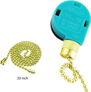 Ceiling Fan Switch Zing Ear Pull Chain Switch ZE-268S6 3 Speed 4 Wire Pull Chain Switch Control Ceiling Fan Replacement Speed Control Switch (Gold)