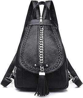 Chain Tassel Women Backpack Purse Small Soft PU Leather Female Travel Backpacks Shoulder Bag Chest Bags (Black)