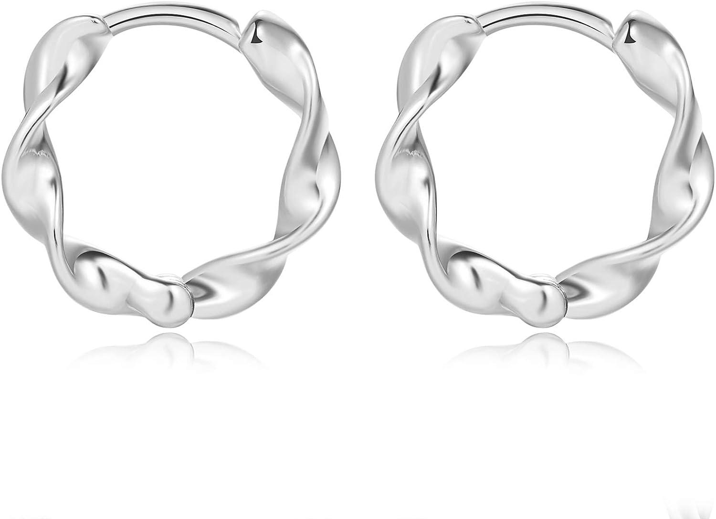 Small Twist Hoop Earrings 18K Silver Ranking Ranking TOP20 TOP13 Sterling Simple Plating