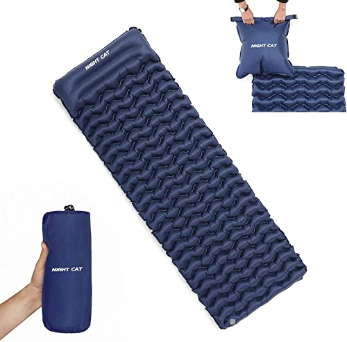 Night Cat Inflatable Sleeping Pads Mat Bed with Pillow and Air Bag for Camping, Backpacking Hiking; Ultra-Light, Comp...