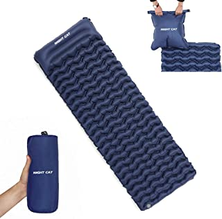 Night Cat Sleeping Pad Mat Bed Inflatable with Pillow and Air Bag for Camping Backpacking Hiking; Ultra-Light, Compact, Comfortable, 75