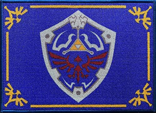 The Legend of Zelda Fußmatte Shield 50 x 70 Schmutzfangmatte mit rutschfester PVC Unterlage Fußabtreter Triforce Links Awakening Breath of the Wild Fußabstreifer für Außen und Innen pflegeleicht