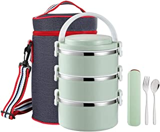 YBOBK HOME Leak Proof Lunch Box Insulated Stainless Steel Bento Lunch Box with Bag and Flatware Set Thermal All-in-1 Lock and Lock Stackable Lunch Box with Lid for Adults and Students (3-Tier, Green)