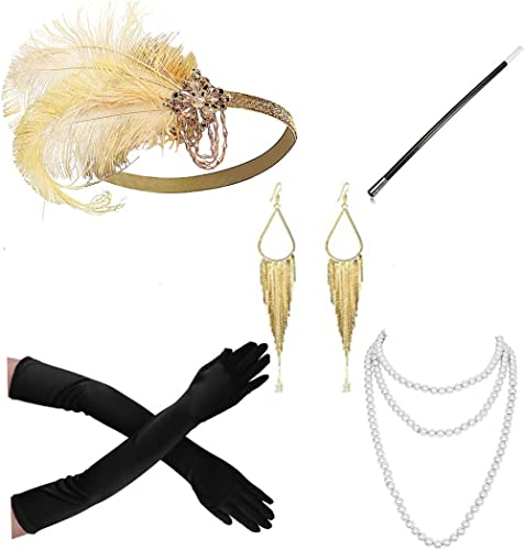 Kathyclassic 1920s Accessories Headband Earrings Necklace Gloves Cigarette Holder Flapper Costume Accessories Set Women