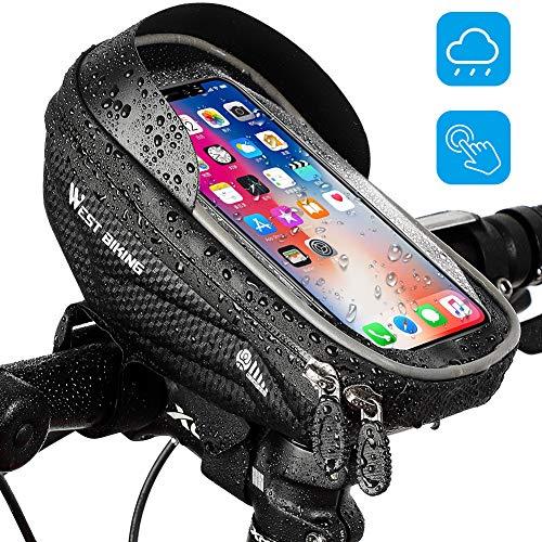 LuTuo Fahrradlenkertaschen Wasserdicht Handyhalterung Universal Motorrad Handyhalterung für 3,5-6,0 Zoll Smartphone mit 360° Drehbar Touchscreen Fahrradtasche, Schwarz-4