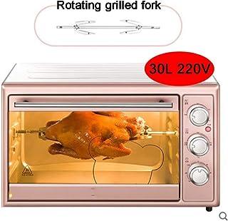 30L 1600W de gran capacidad pequeño horno hogar, la sincronización exacta y precisa de la temperatura de control, puede ayudar a tomar deliciosa comida y ahorrar tiempo, Rosa, Rosa hsvbkwm