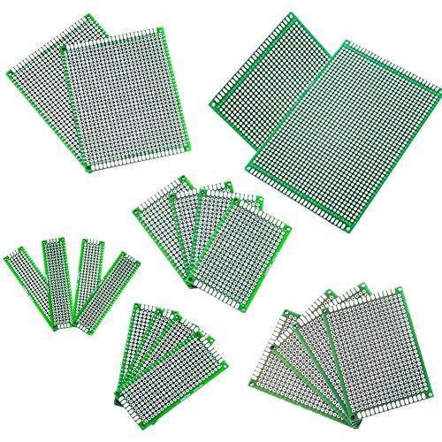 20 Stücke 5x7 4x6 3x7 2x8 7x9 9x15CM Double Side Doppelseitig Prototype Lochrasterplatte Lochrasterplatine Leiterplatte Platine PCB Universal Board für DIY …