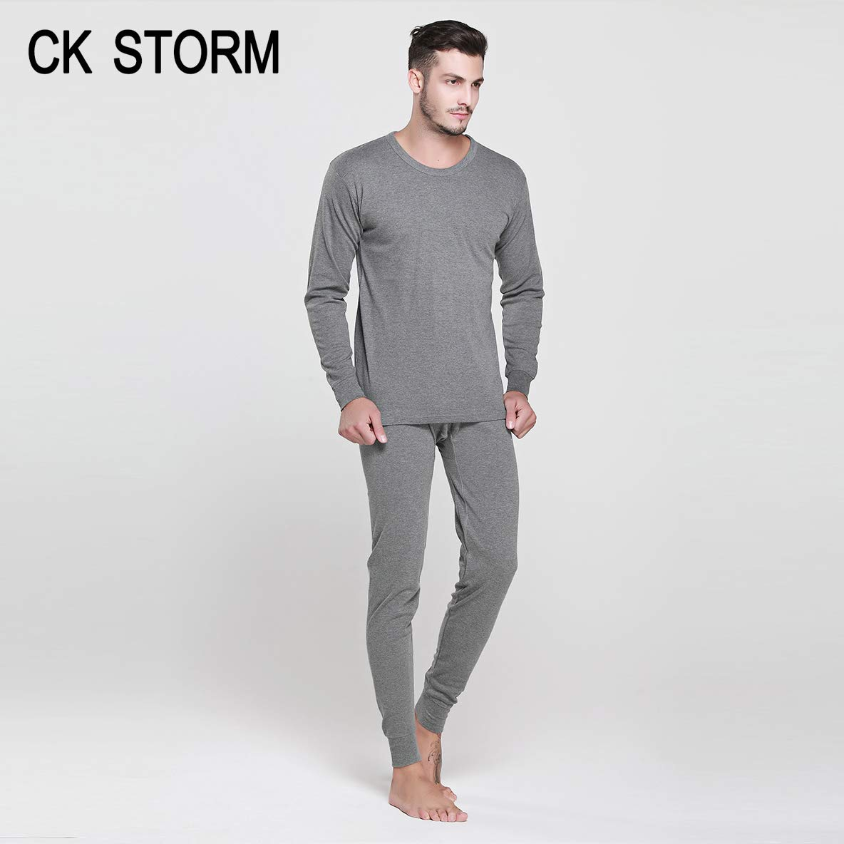 CK STORM Qiuyi Qiukuベーシックスタイル秋と冬の新しい男性のシームレスな高織りコーマ綿ラウンドネック基本下着セットギフトボックス