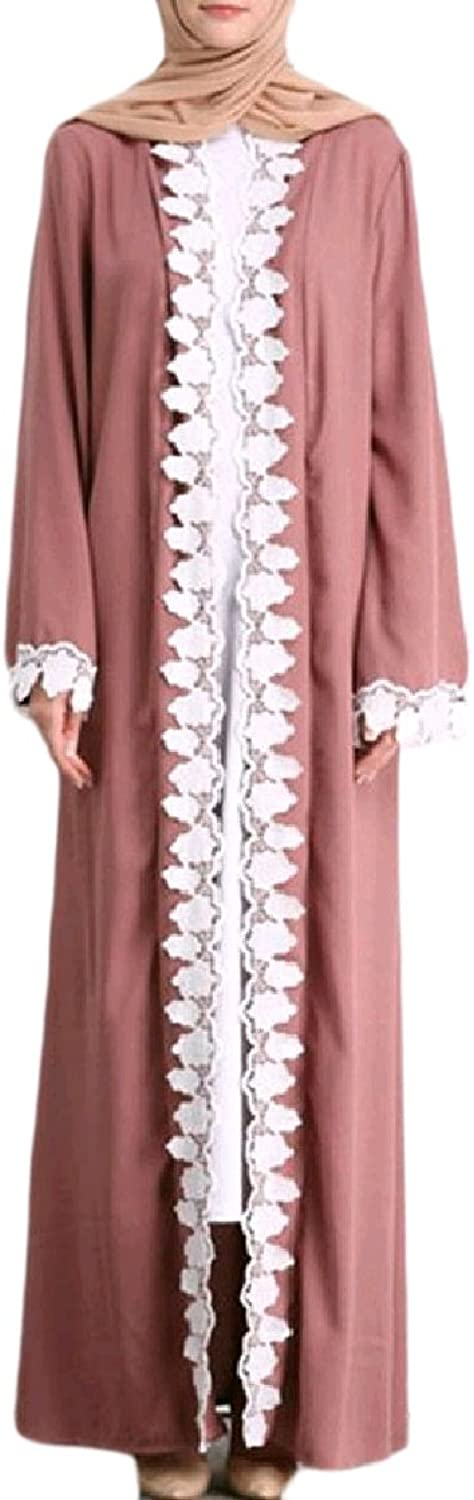 CoolredWomen Arab Stitch Robe OpenFront Fashion Muslim Lace Hem Middle East Gown