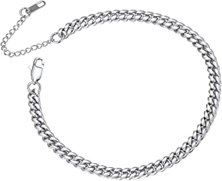 Ankle Chain Bracelet Women 8.5inch+5CM Dainty Sturdy Stainless Steel Anklet for Women