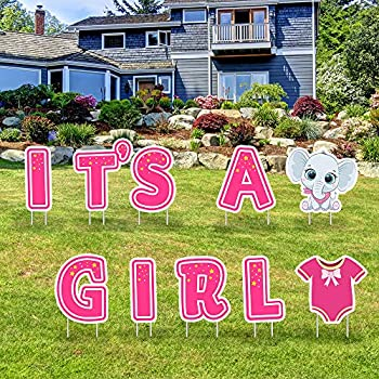 IT'S A Girl Pink Yard Signs with Stakes–Girl Special Delivery - It's A Girl Elephant Baby Shower Yard Sign Lawn Decorations-Party Yard Sign-Welcome Home Baby Lawn Sign-Gender Reveal Baby Shower-10PCS