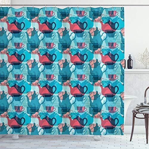 ABAKUHAUS Theekransje Douchegordijn, serviesgoed Silhouettes, stoffen badkamerdecoratieset met haakjes, 175 x 220 cm, Dark Coral Pale Blue