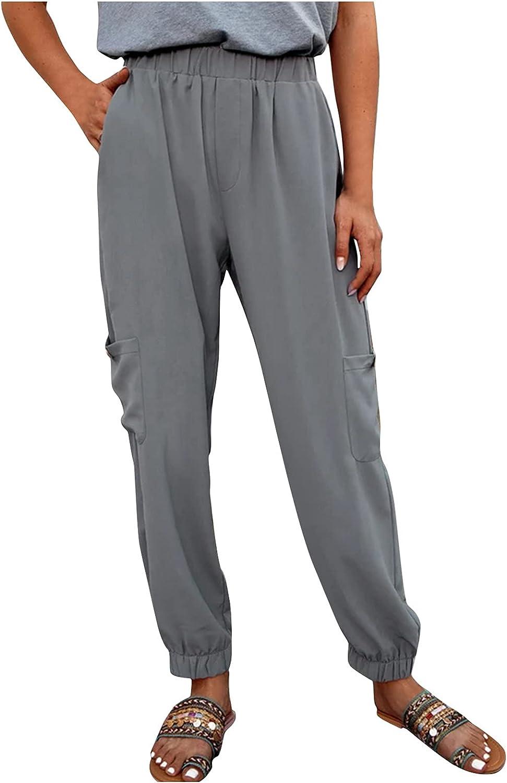 Women's Casual Linen Pants Elastic Waist Multi-pocket Trousers Cargo Pants(S-4XL)