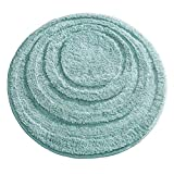 mDesign Soft Microfiber Polyester Non-Slip Round Spa Mat, Plush Water Absorbent Accent Rug for Bathroom Vanity, Bathtub/Shower - Concentric Circle Design, Machine Washable - Aqua Blue