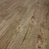 TRECOR Klick Vinylboden RIGID/Designboden Massivdiele 6,5 mm stark mit 0,5 mm Nutzschicht - WASSERFEST - Sie kaufen 1 Musterstück mit ca. 35 cm Länge - (Vinylboden Musterstück, Eiche Old Rustik Dark)