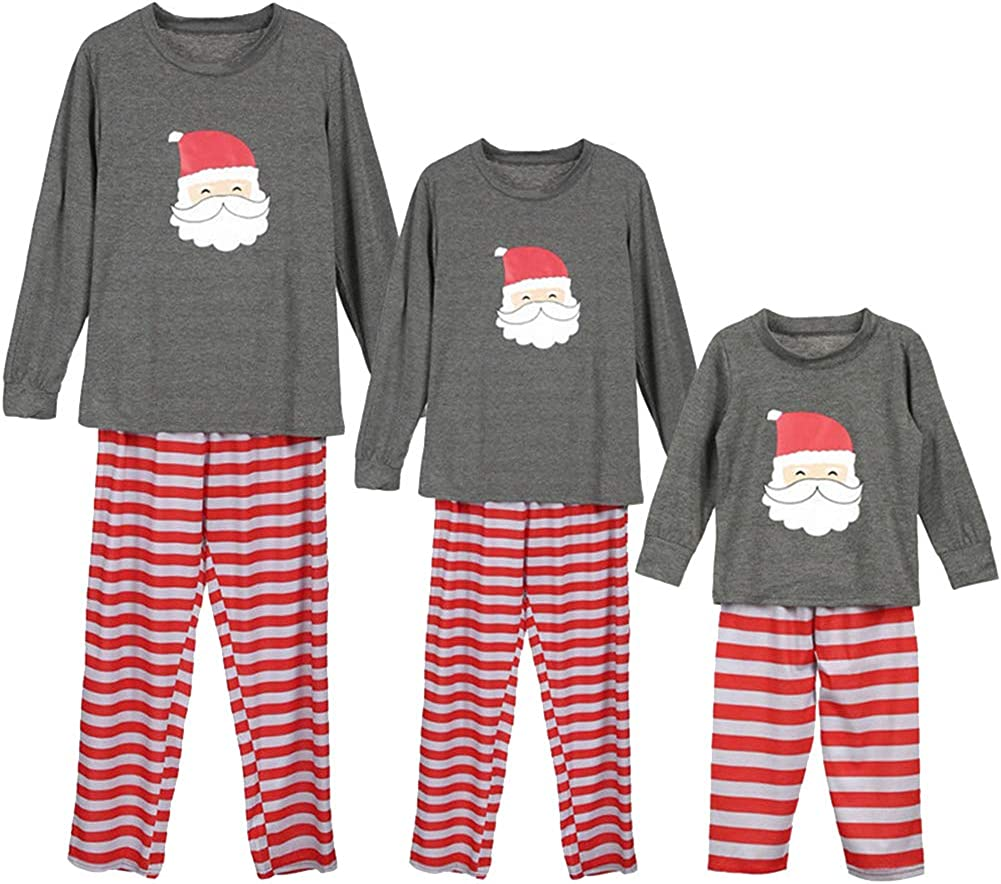 amropi Christmas Family Matching Pajama Set Long Sleeve T-Shirt Stripe Pants Sleepwear