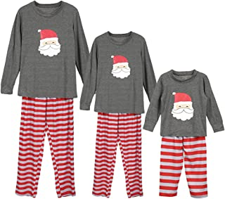 amropi Christmas Family Matching Pyjama Set Long Sleeve T-Shirt Stripe Pants Sleepwear