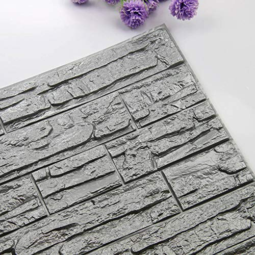 Home Decoration Self Adhesive 3D Brick Wall Stickers Stone Living Room Decor Foam Waterproof Panels Covering Wallpaper TV Background Kids Home (Color : Gray, Size : 60X60cmX8pcs)