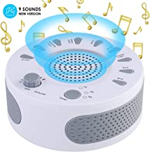 Sleep Therapy White Noise Sound Machine Polysomnography Device 9 Unique Natural Sounds and Timer Setting for Baby Adults Sleep Disorders Noise Cancelling Home Office Spa Yoga (White)