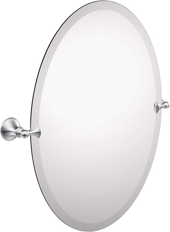 Moen DN2692CH Glenshire 26 X 22 Inch Frameless Pivoting Bathroom Tilting Mirror Chrome