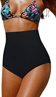 Upopby Women's High Waisted Swimsuit Bikini Bottoms Tummy Control Tankini Bottoms Swim Shorts Plus Size