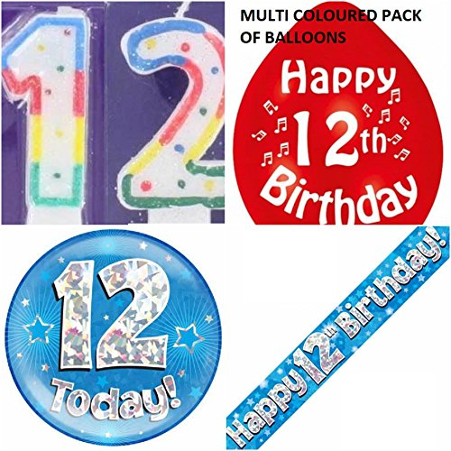 12th Birthday Party Set boys. Age 12 Boy kit (Banner, Balloons, Candle, Badge)