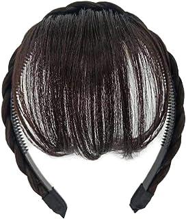 YONIK 前髪ウィッグ 三つ編み カチューシャ ぱっつん 部分ウィッグ エクステ ウィッグ エアリーバング 空気感 かわいい (ブラウンブラック)