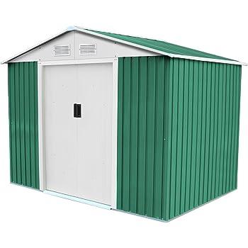 GARDIUN KIS12767 - Caseta Metálica Cambridge 4,72 m² Exterior 181x261x198 cm Acero Galvanizado Verde: Amazon.es: Jardín