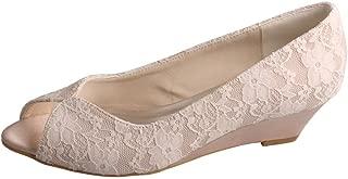 Wedopus MW407 Women's Peep Toe Wedge Heel Lace and Satin Bridal Wedding Shoes