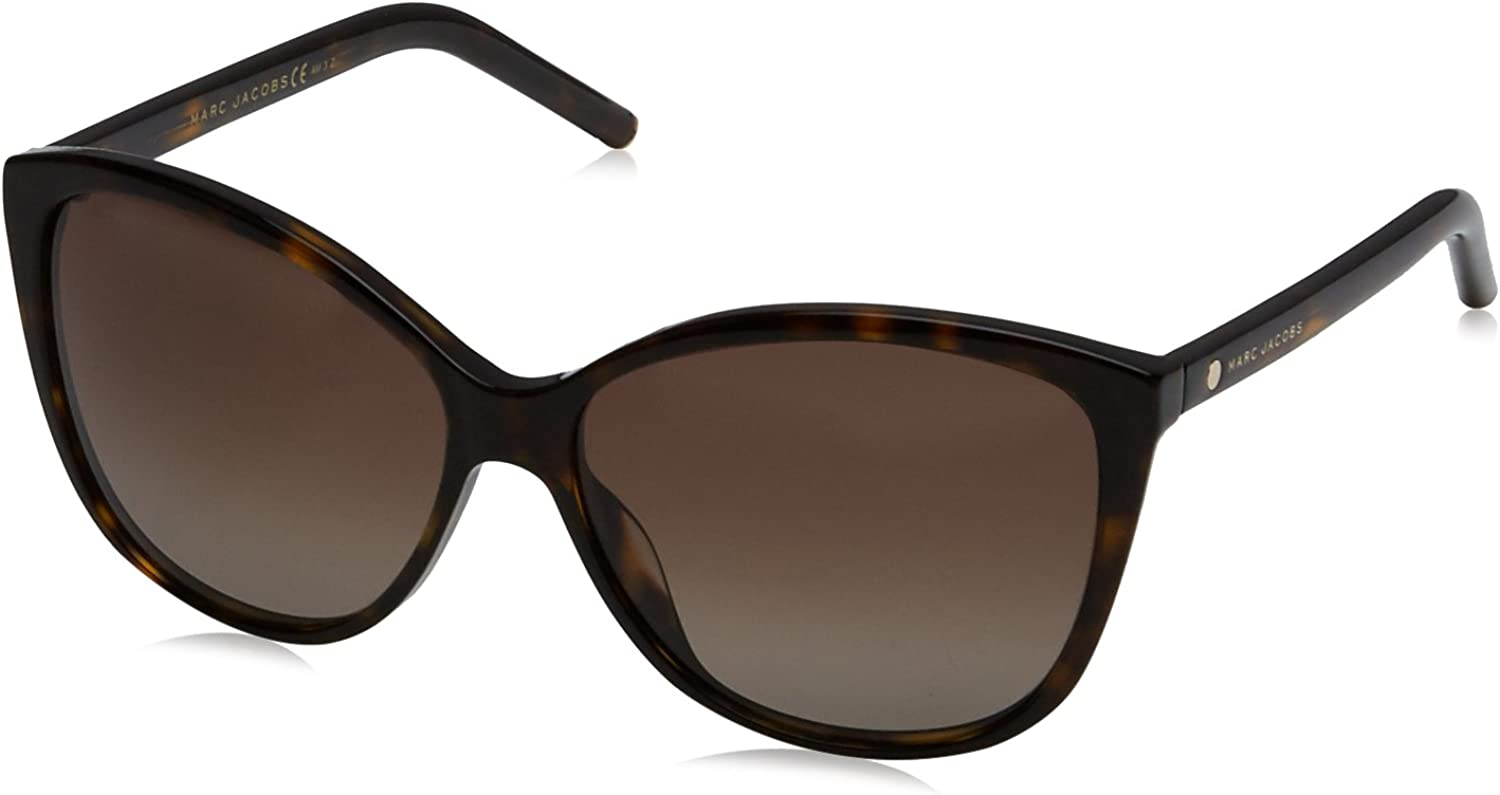 Marc Jacobs Women's Marc69s Cateye Sunglasses, Dark Havana Brown Gradient Polarized, 58 mm
