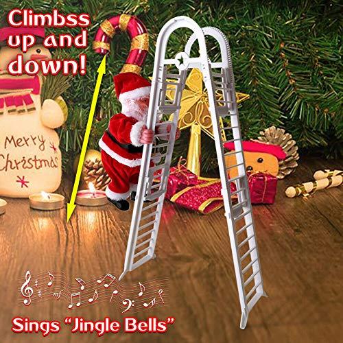 WELLXUNK Weihnachtsmann auf Leiter, Elektrische kletternde Leiter Santa Claus Climbing Ladder, Plüsch Puppe Musik für Kinder, Weinachts Weihnachtsparty Wand Dekoration