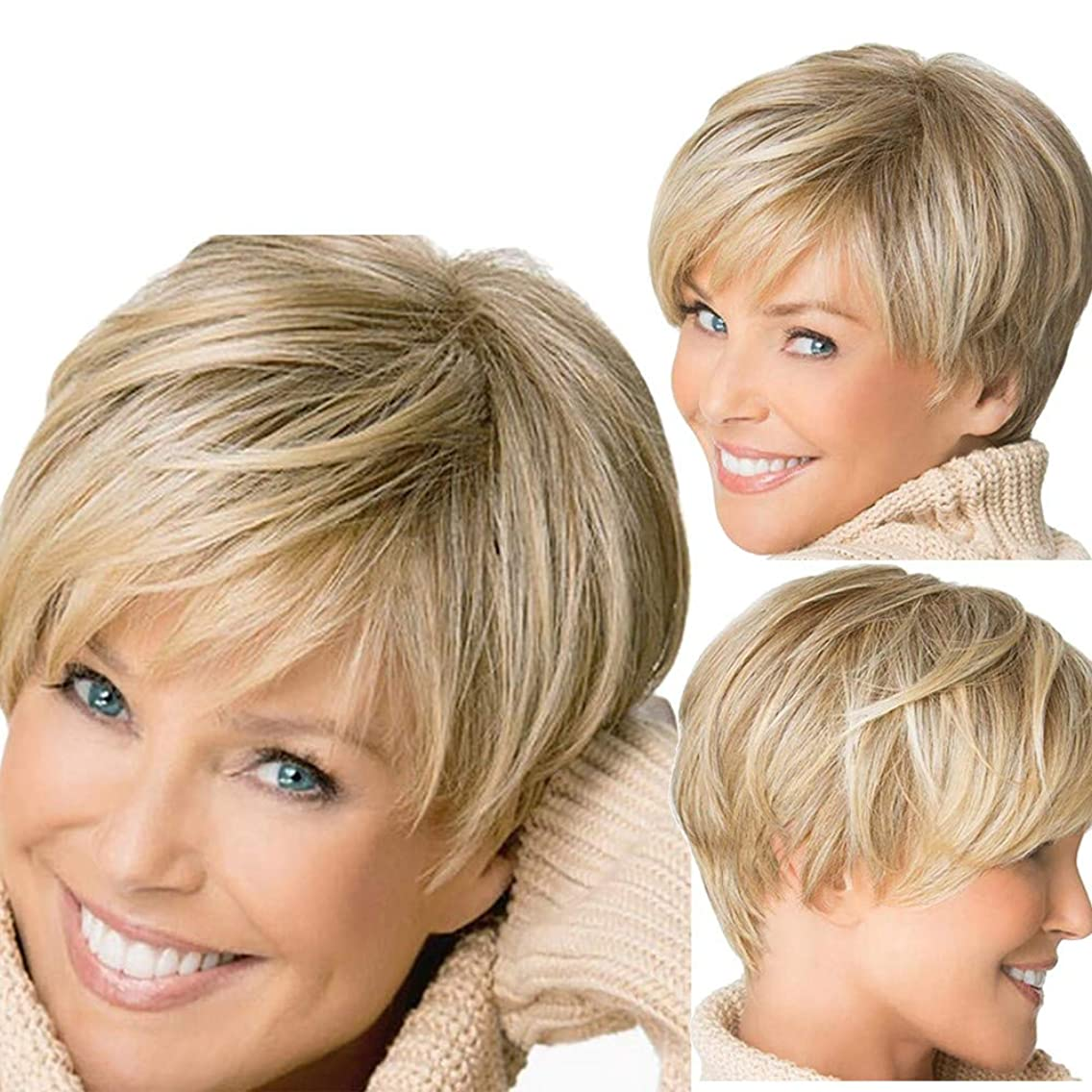Hot Sale! Short Wigs,Women Fashion Straight Synthetic Hair Full Wigs Natural Looking Heat Resistant Gold Wig (Gold)