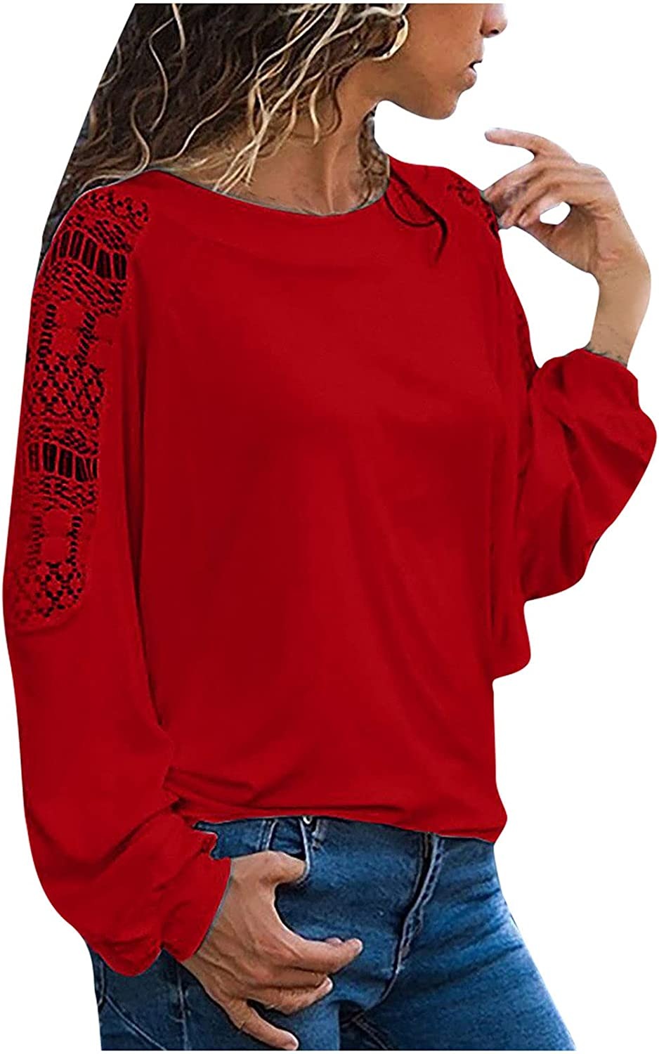 Summer O-Neck Long Sleeve Shirt for Women Solid Print Loose Casual Blouse Tops Comfortable Tunic Tees