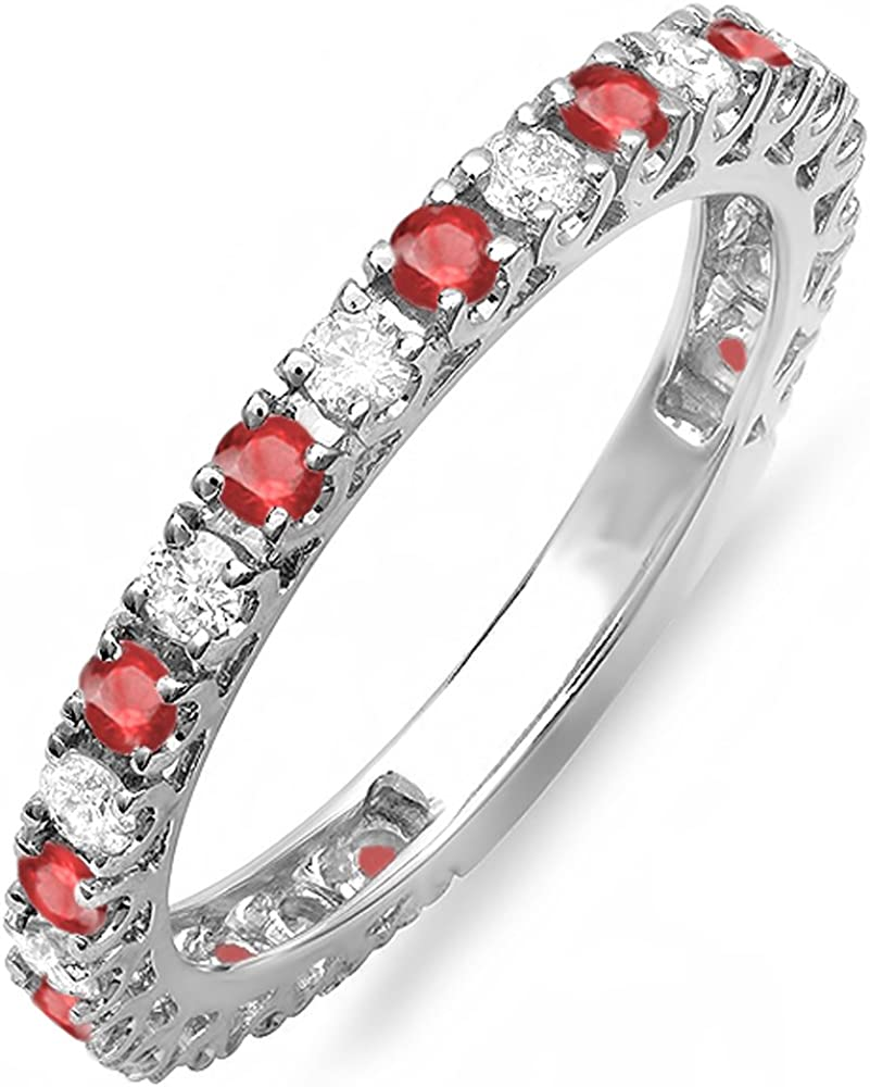 10K White Gold Round Ruby And White Diamond Eternity Sizeable Stackable Ring Anniversary Wedding Band