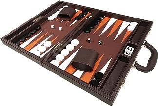 16-inch Premium Backgammon Set - Medium Size - Dark Brown Board