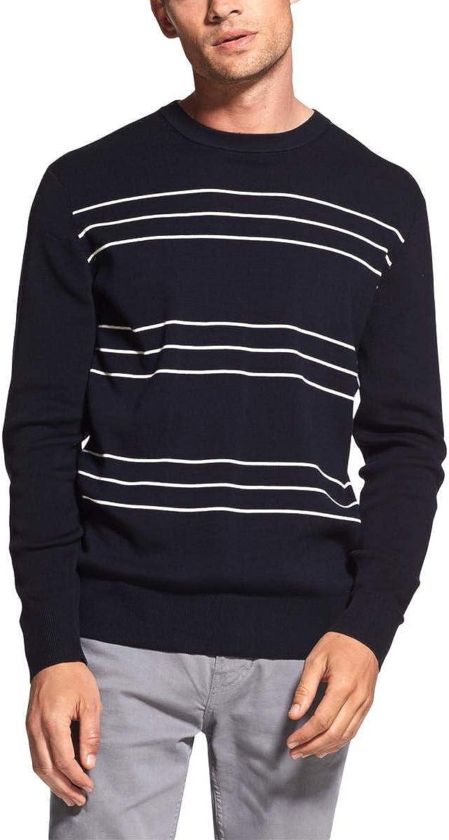 DKNY Mens Slim Stripe Pullover Sweater, Blue, Large