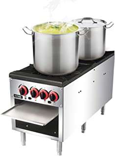 18 Inches 2 Stock Pot Stove, KITMA Natural Gas Stainless Steel Countertop Stock Pot Range - Commercial Gas Stock Pot Range - 160000 BTU