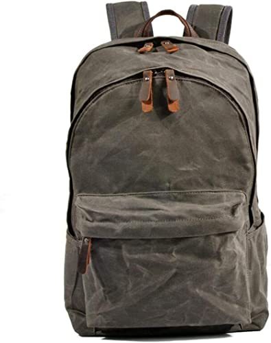HOUYAZHAN Pour des hommes Vintage Toile Sac à Dos Booksac Laptop sac Sac à Dos léger pour la randonnée Voyage (Couleur   A-Dark vert)