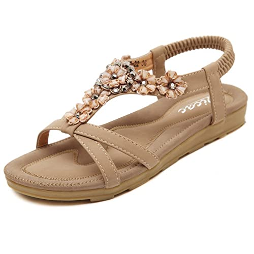 1f5adc0d716a3 Zicac Women s Open Toe Sandals Summer Bohemia Rhinestone Flower Bead Folk  Dunlop Sandals Boho Beach Flip